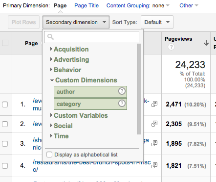 google analytics custom dimension drop down
